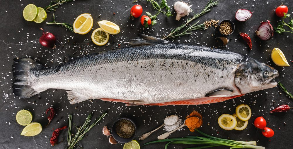 Fresh raw salmon red fish that may cause allergic reaction.